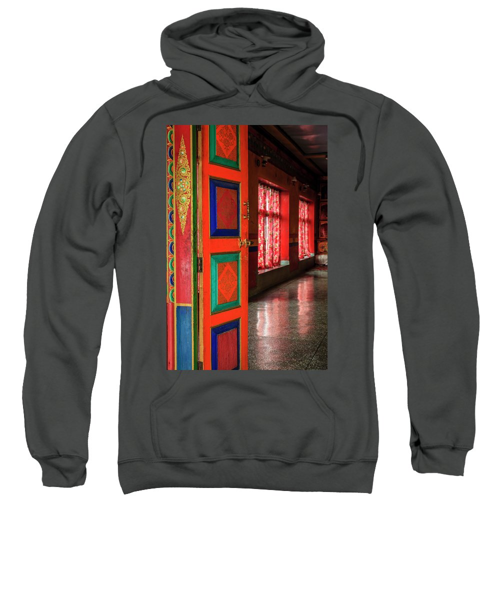 Asia Sweatshirt featuring the photograph Temple Door by Alexey Stiop