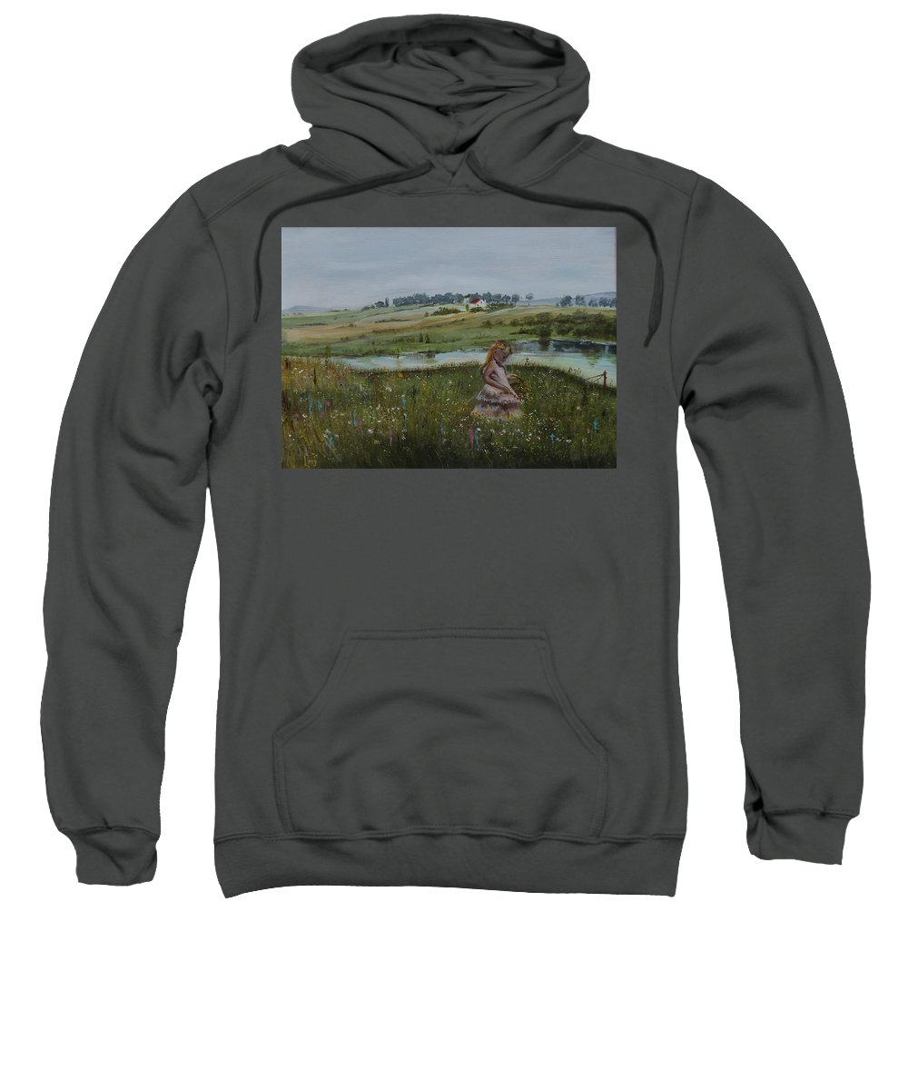 Impression Sweatshirt featuring the painting Tender Blossom - Lmj by Ruth Kamenev