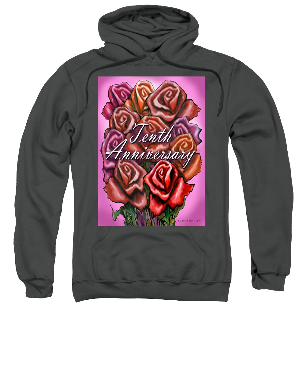 Tenth Sweatshirt featuring the greeting card Tenth Anniversary by Kevin Middleton