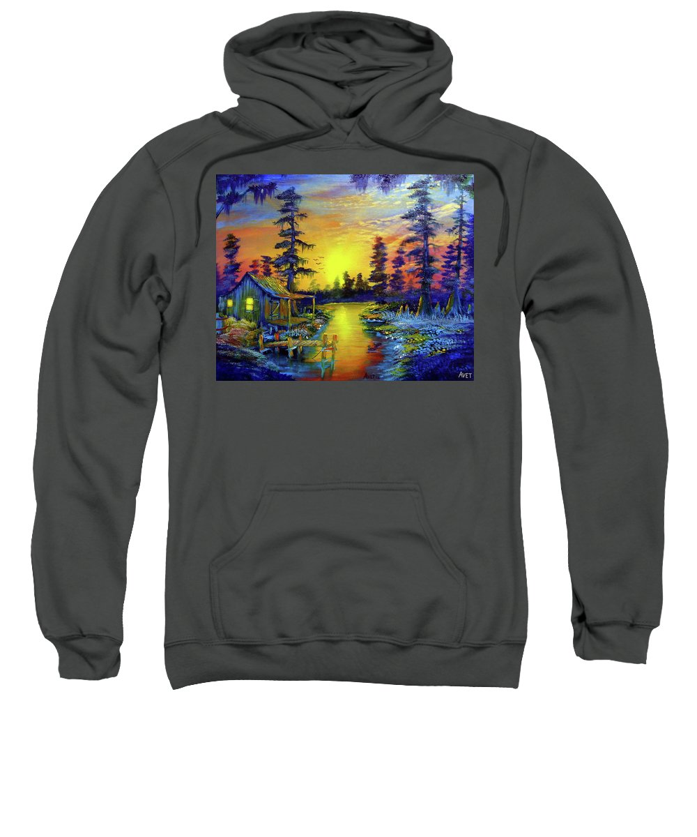 Landscape Sweatshirt featuring the painting Tequila Sunrise In The Swamp by Nicolas Avet