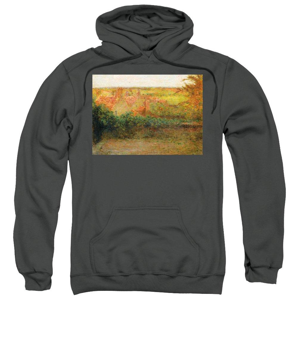 Henri Le Sidaner 1862-1939 Terrace Sweatshirt featuring the painting Terrace, Sun, Gerberoy by Henri le Sidaner