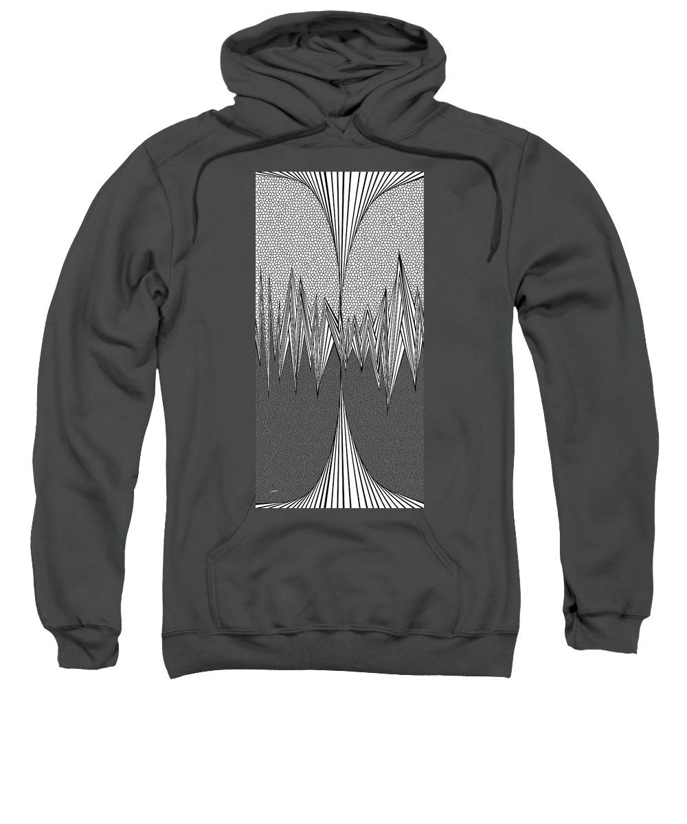 Dynamic Black And White Sweatshirt featuring the painting Tesla Coiled by Douglas Christian Larsen