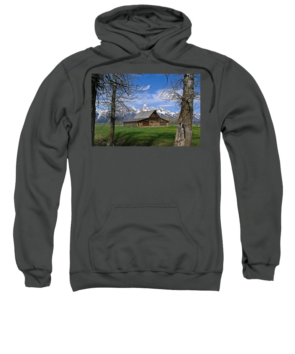 Teton Sweatshirt featuring the photograph Teton Barn by Douglas Barnett