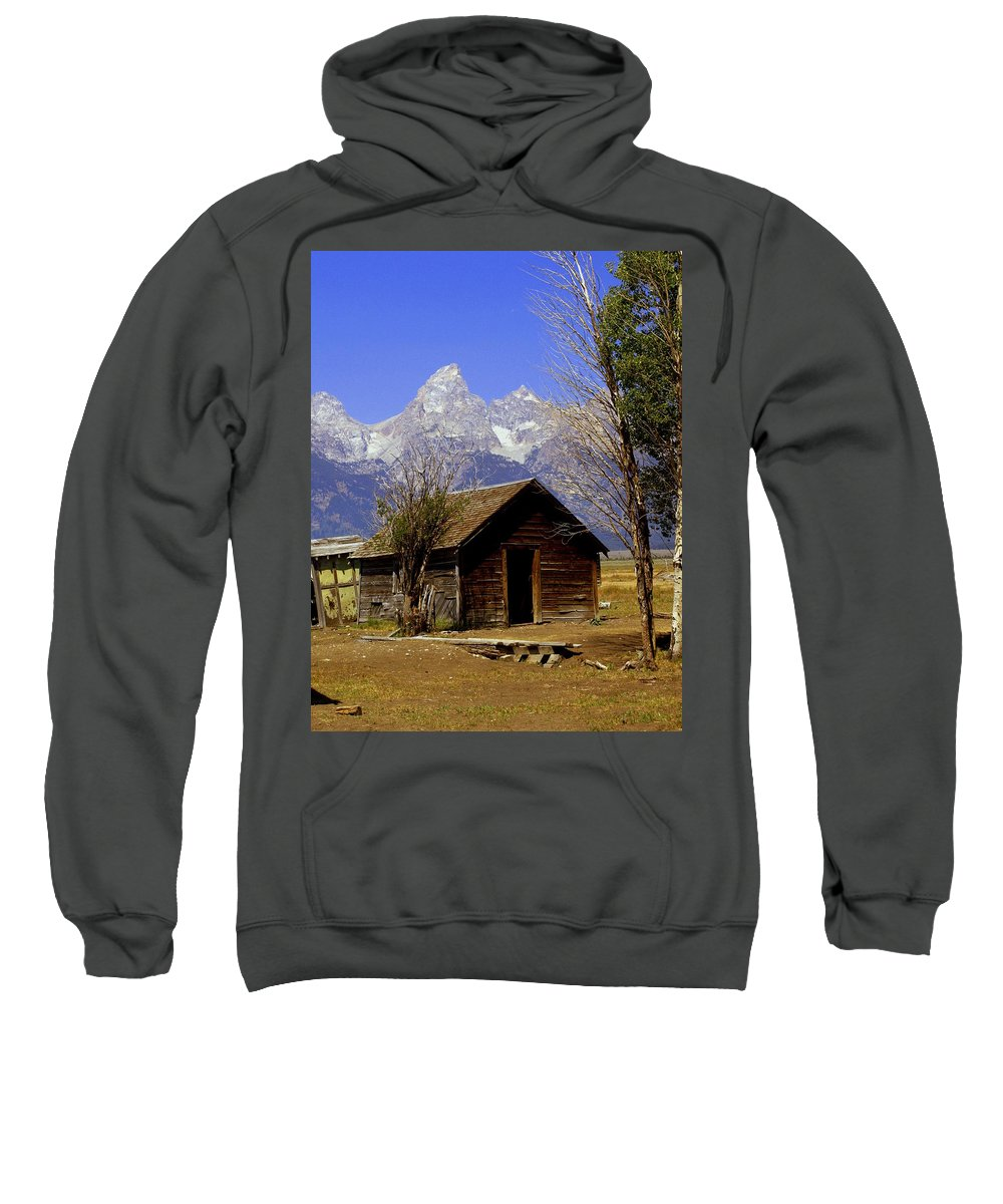 Grand Teton National Park Sweatshirt featuring the photograph Teton Cabin by Marty Koch