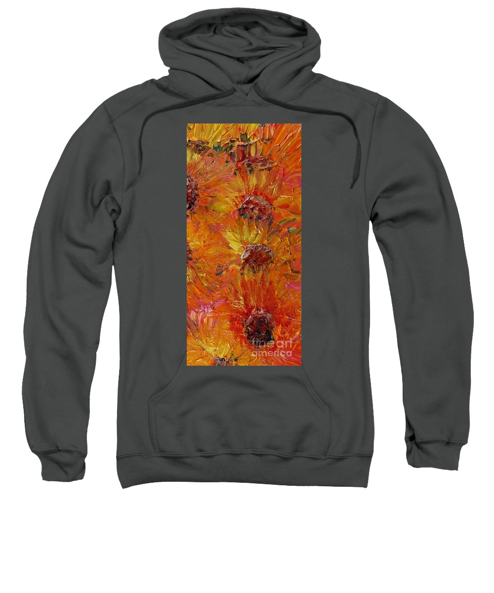 Sunflowers Sweatshirt featuring the painting Textured Sunflowers by Nadine Rippelmeyer