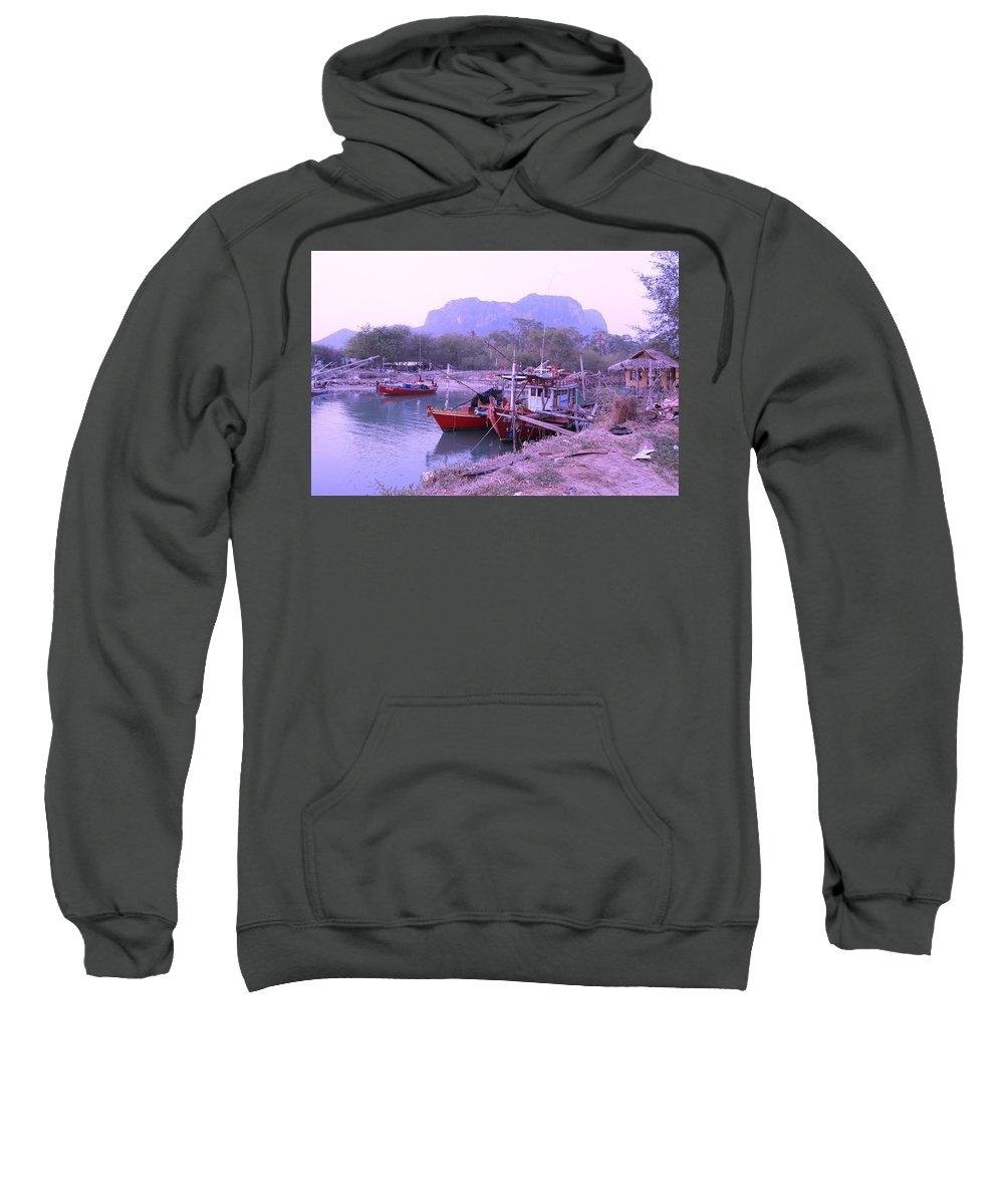 Landscape Sweatshirt featuring the photograph Thai Fishing Boats 05 by Pusita Gibbs