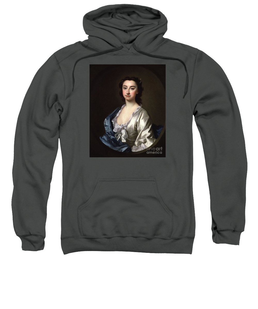 The Actress Susannah Maria Cibber Sweatshirt featuring the painting The Actress Susannah by MotionAge Designs