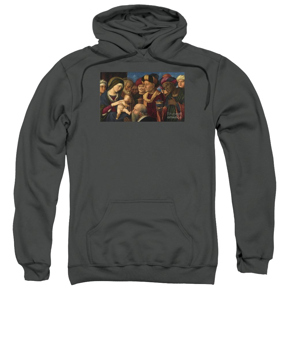 The Adoration Of The Magi Sweatshirt featuring the painting The Adoration Of The Magi by MotionAge Designs