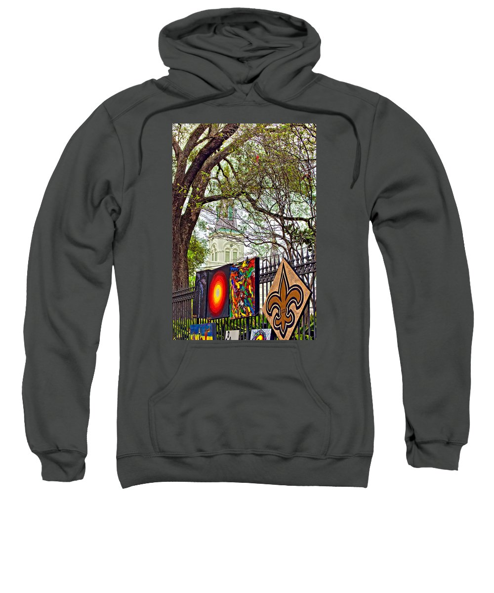 French Quarter Sweatshirt featuring the photograph The Art Of Jackson Square by Steve Harrington
