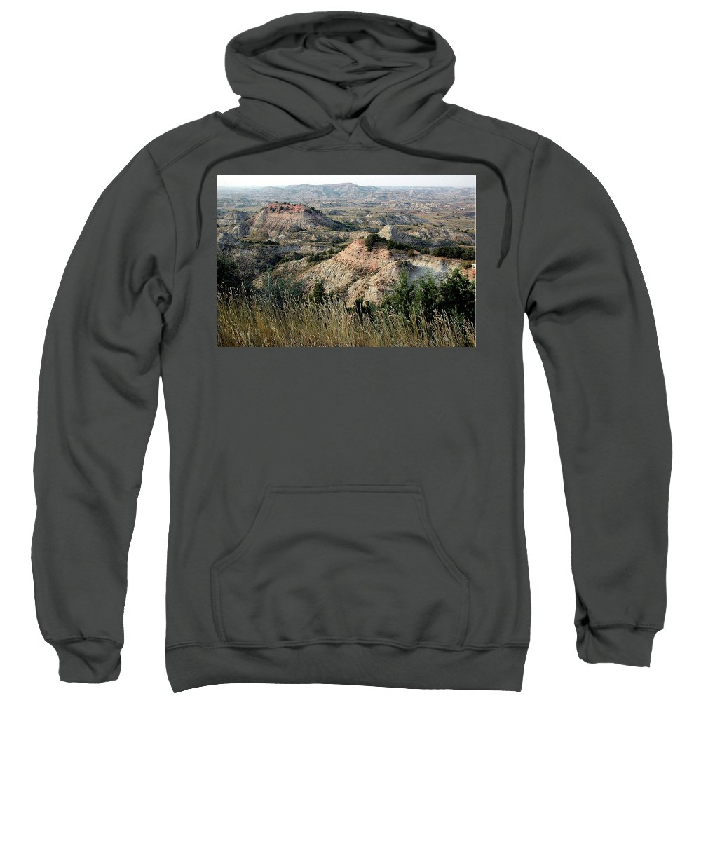 North Dakoda Sweatshirt featuring the photograph The Badlands by D'Arcy Evans