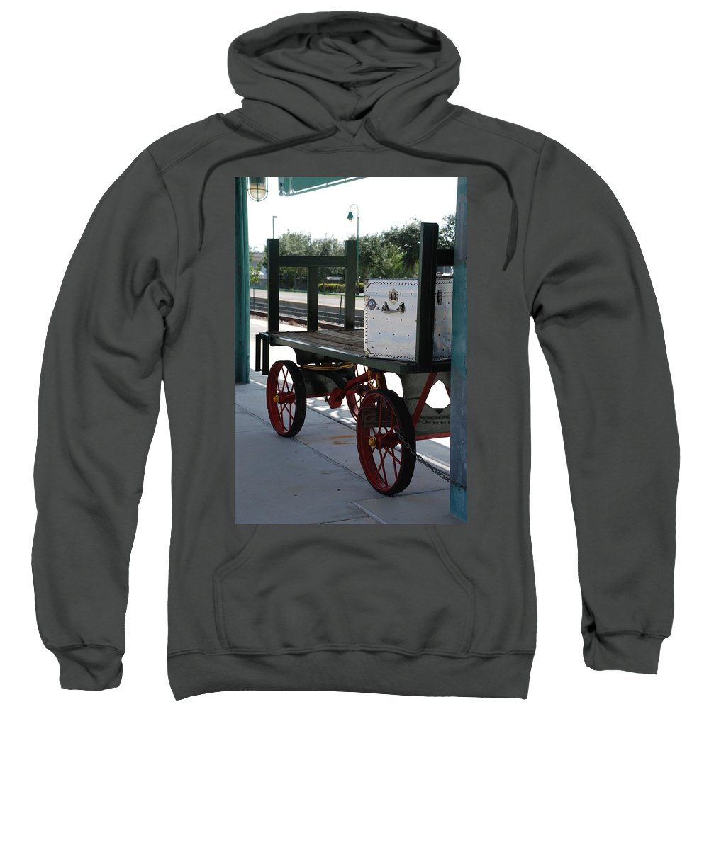 Train Station Sweatshirt featuring the photograph The Baggage Cart And Truck by Rob Hans