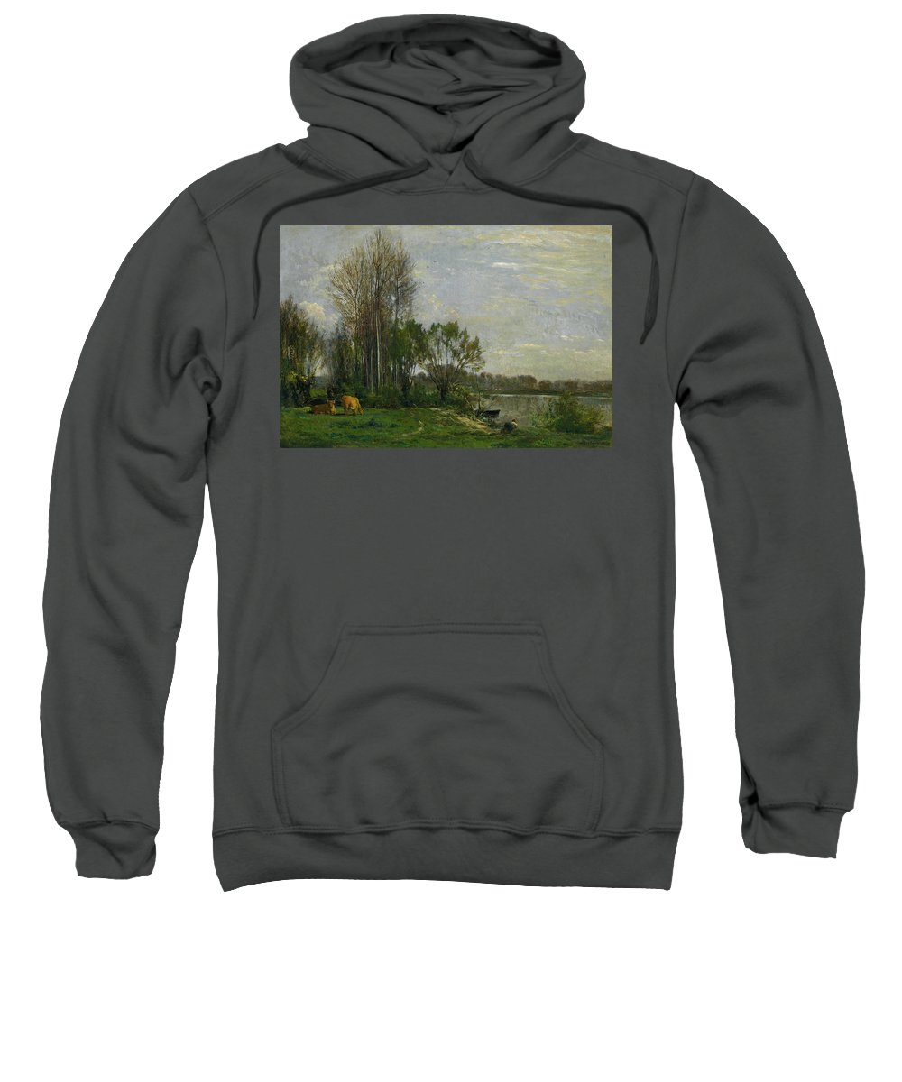 Animal Sweatshirt featuring the painting The Banks Of The Oise by Charles-Francois Daubigny