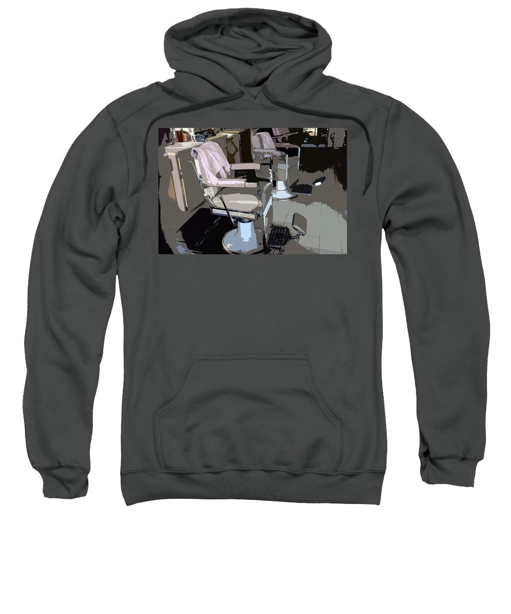 Barber Sweatshirt featuring the painting The Barber's Chairs by David Lee Thompson