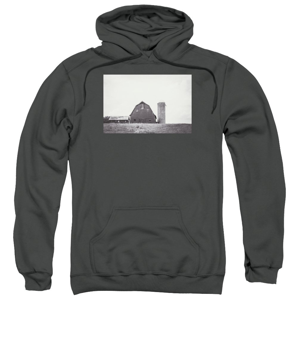 Black And White Sweatshirt featuring the photograph The Barn by Meg Porter
