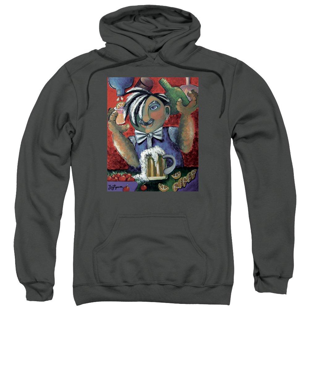 Bartender Sweatshirt featuring the painting The Bartender by Elizabeth Lisy Figueroa