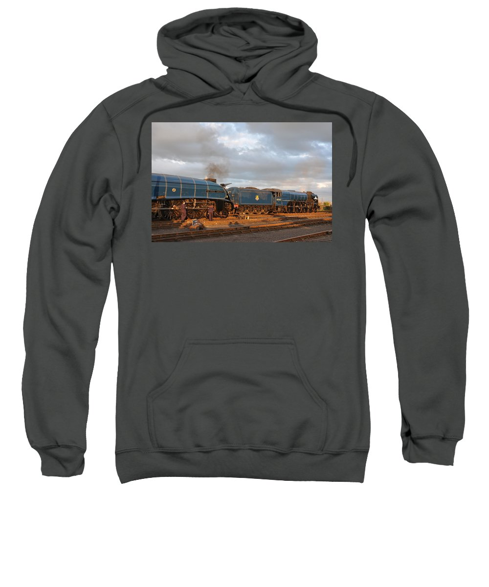Sweatshirt featuring the photograph the Big Blue Engines by Ian White