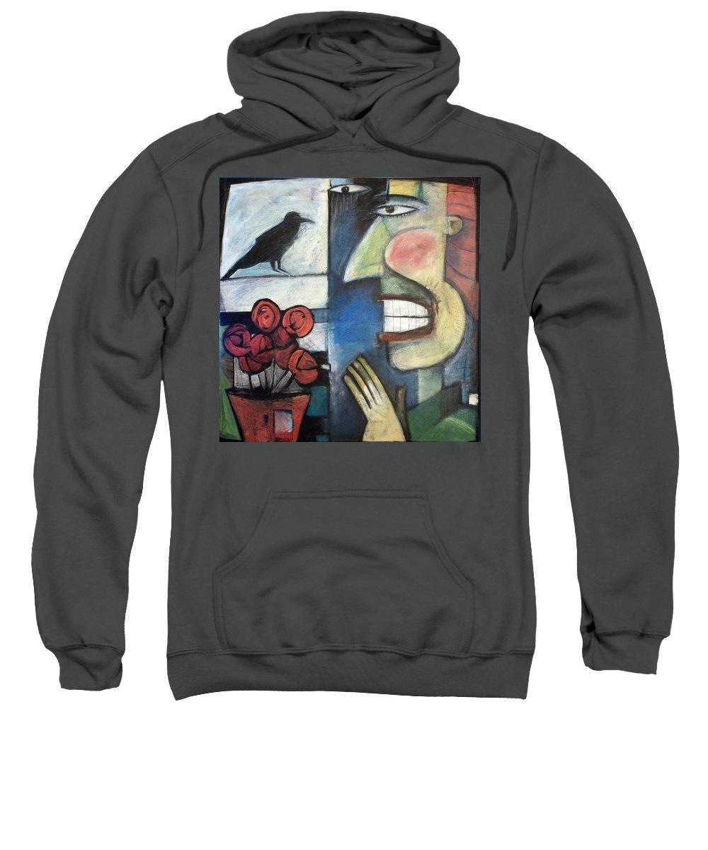 Bird Sweatshirt featuring the painting The Bird Watcher by Tim Nyberg