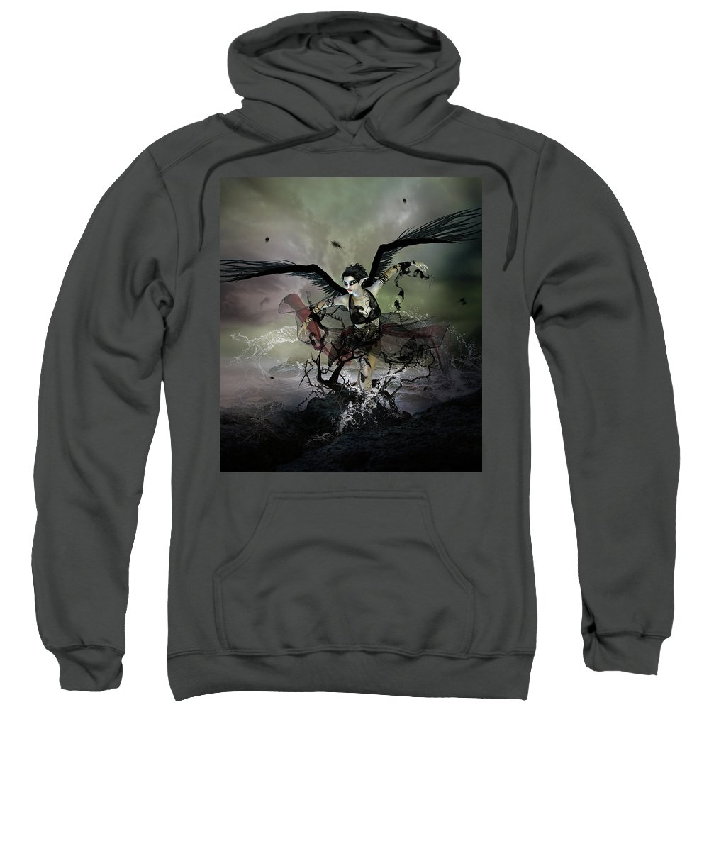 Swan Sweatshirt featuring the digital art The Black Swan by Karen Koski
