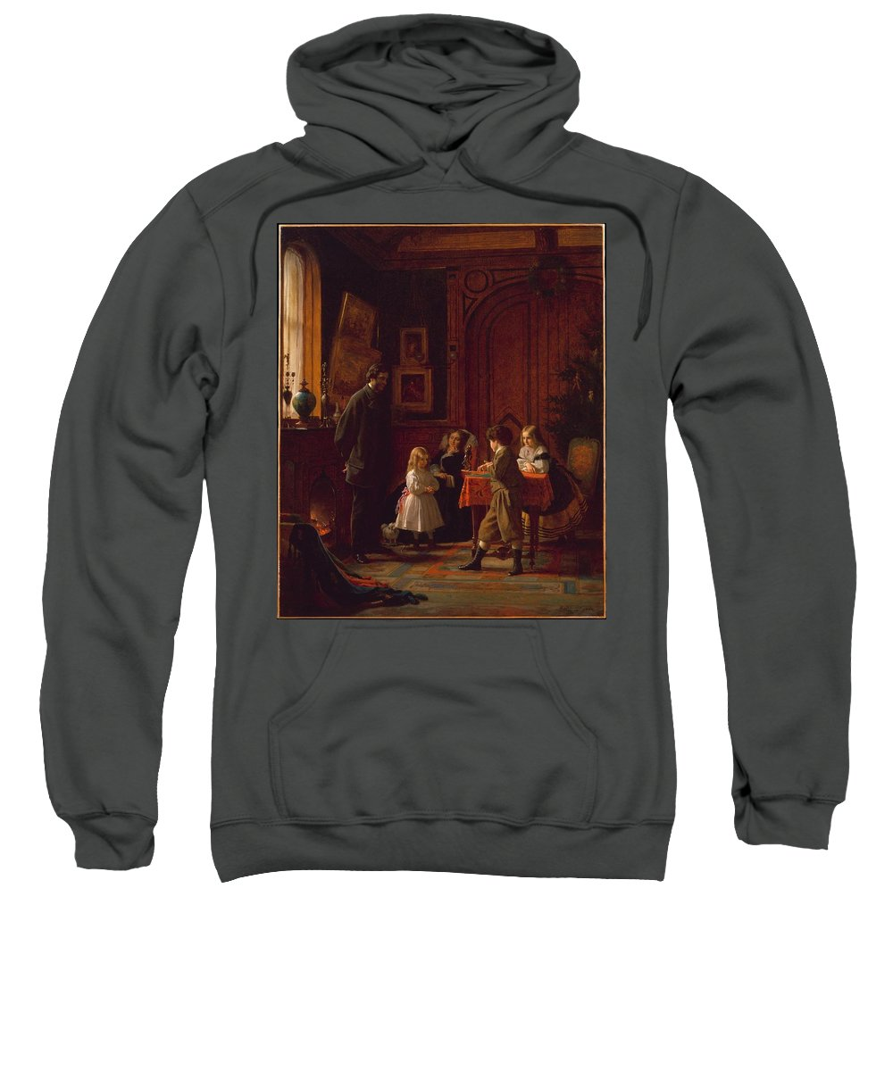 Christmas-time Sweatshirt featuring the painting The Blodgett Family by MotionAge Designs
