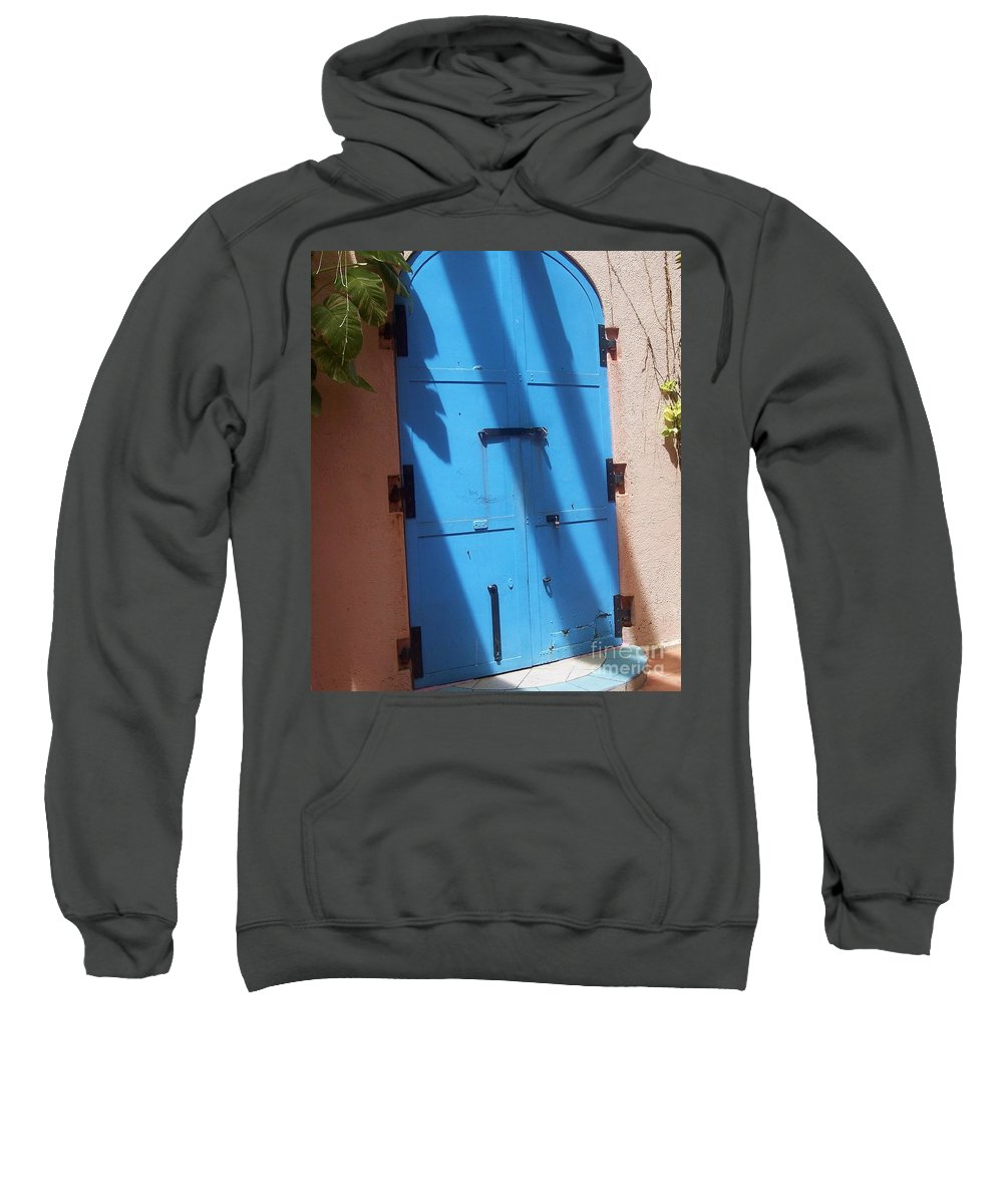 Architecture Sweatshirt featuring the photograph The Blue Door by Debbi Granruth