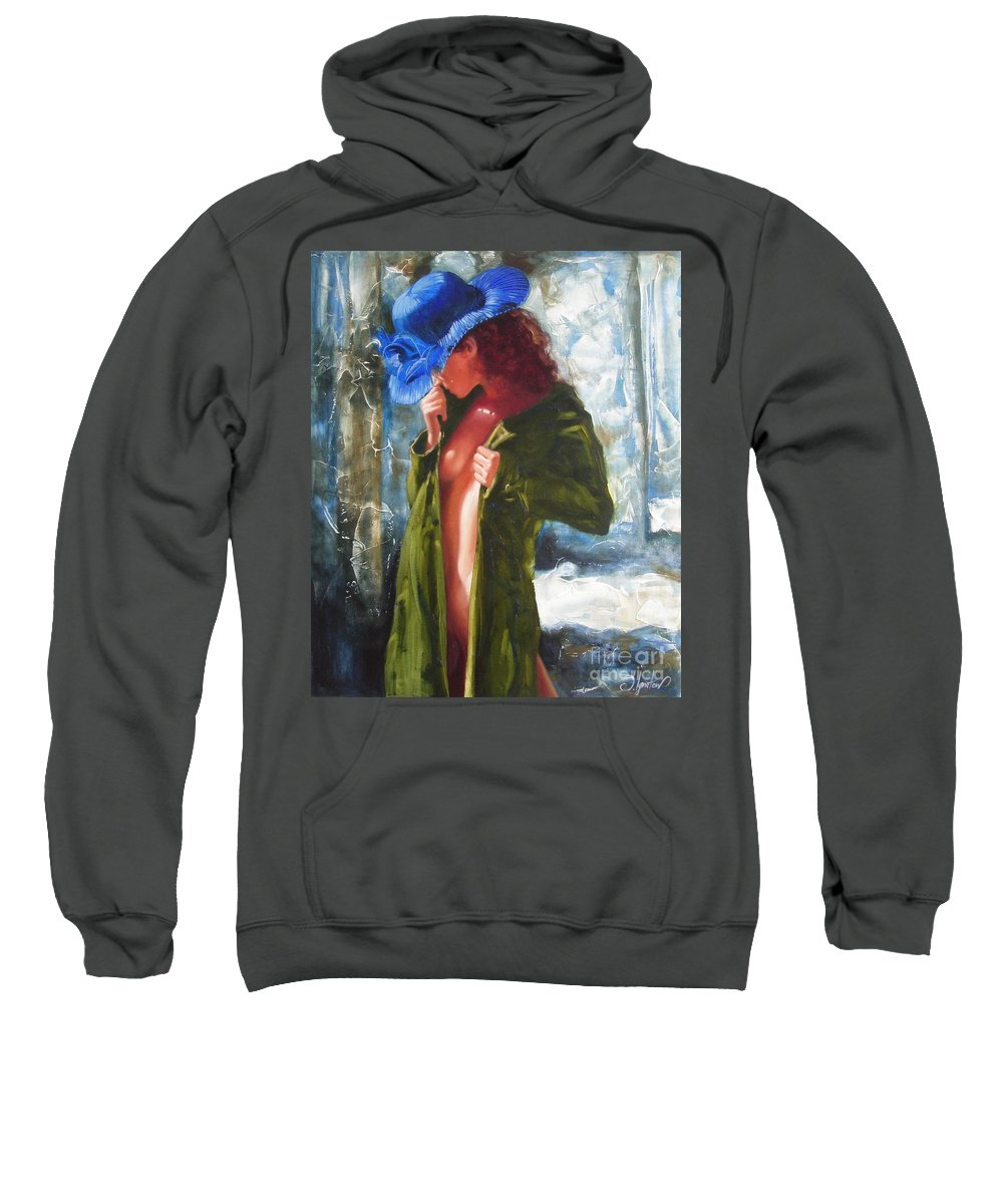 Art Sweatshirt featuring the painting The Blue Hat by Sergey Ignatenko