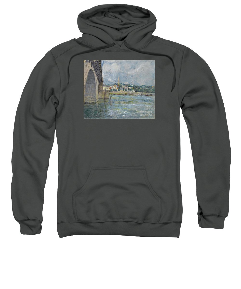 The Bridge At Saint-cloud Sweatshirt featuring the painting The Bridge At Saint Cloud by MotionAge Designs