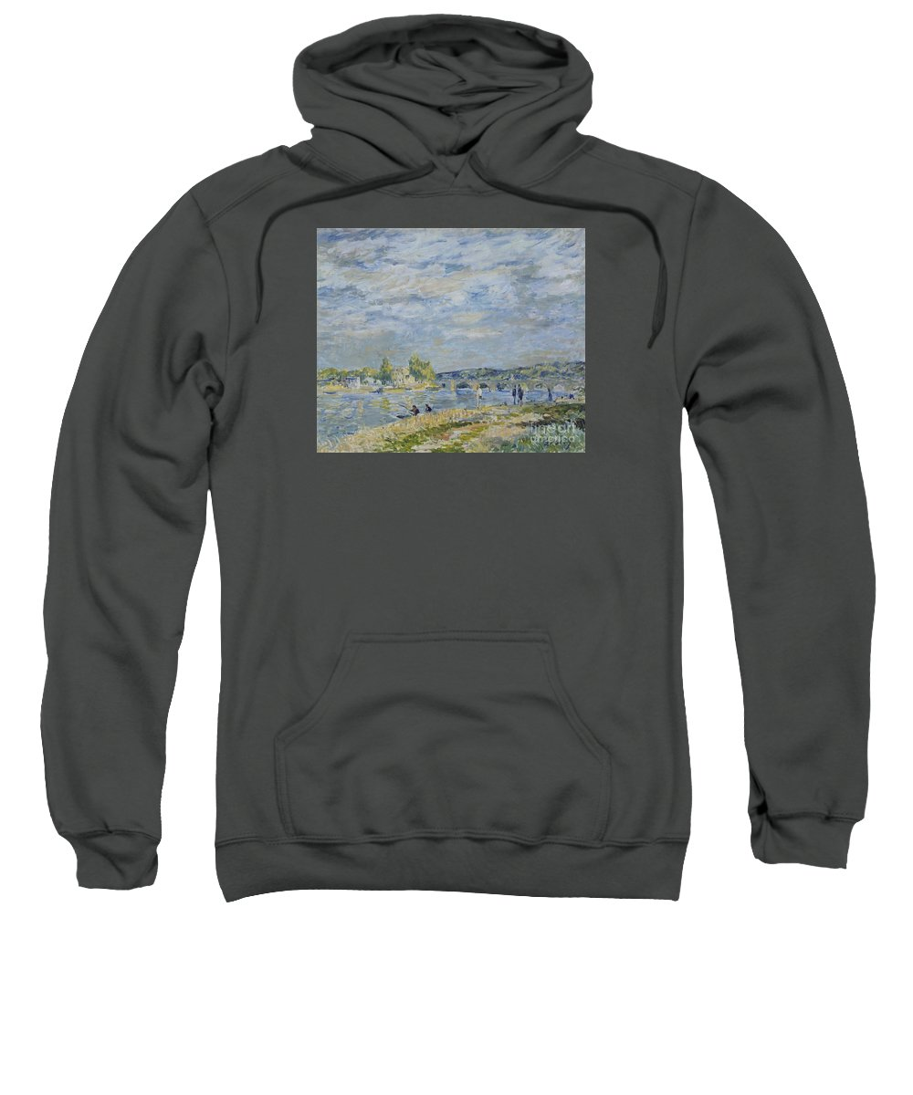 The Bridge Near Sevres Sweatshirt featuring the painting The Bridge Near Sevres by MotionAge Designs