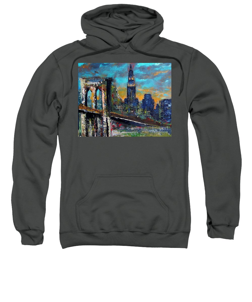 Bridges Sweatshirt featuring the painting The Brooklyn Bridge by Frances Marino