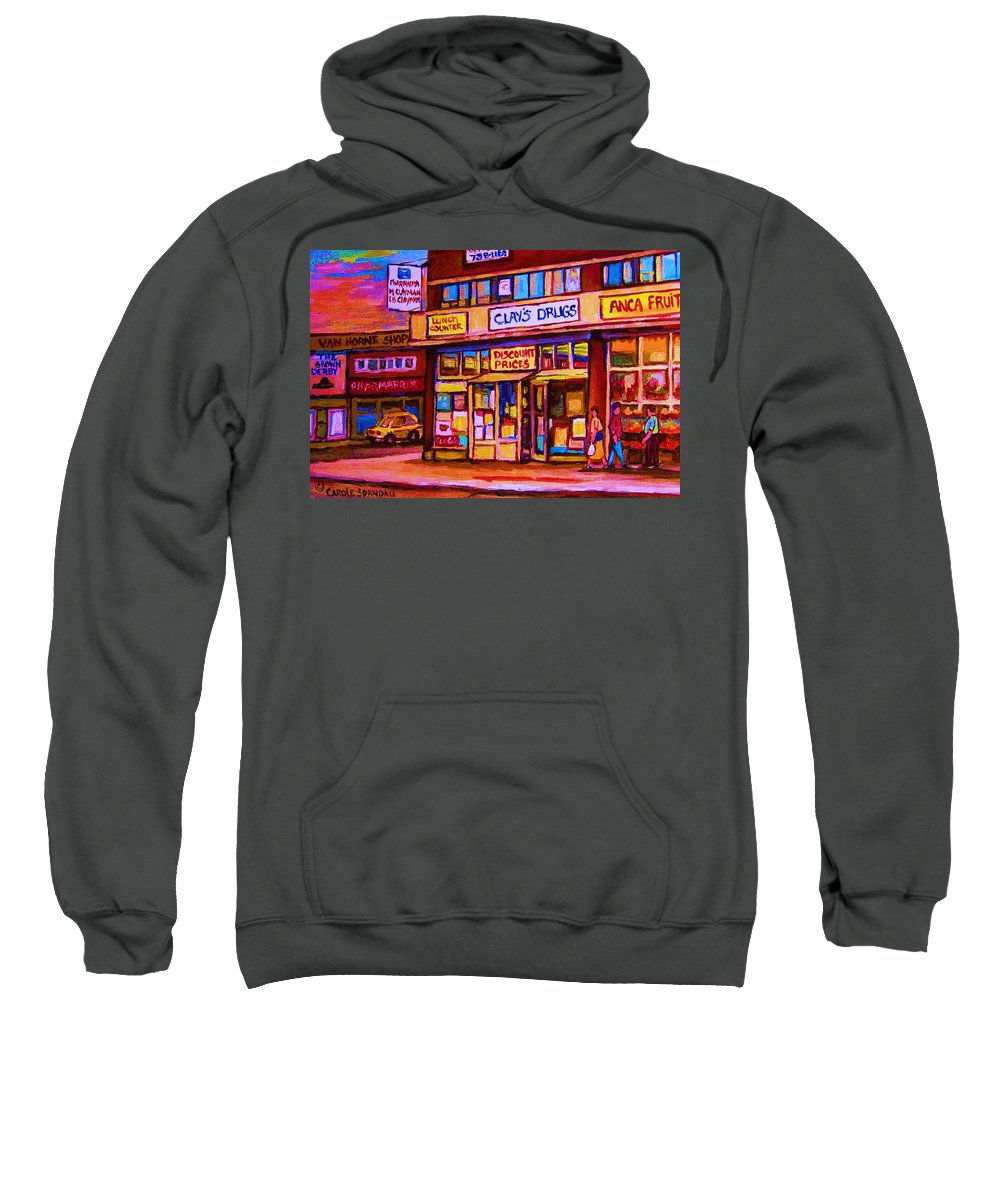 Montreal Sweatshirt featuring the painting The Brown Derby by Carole Spandau