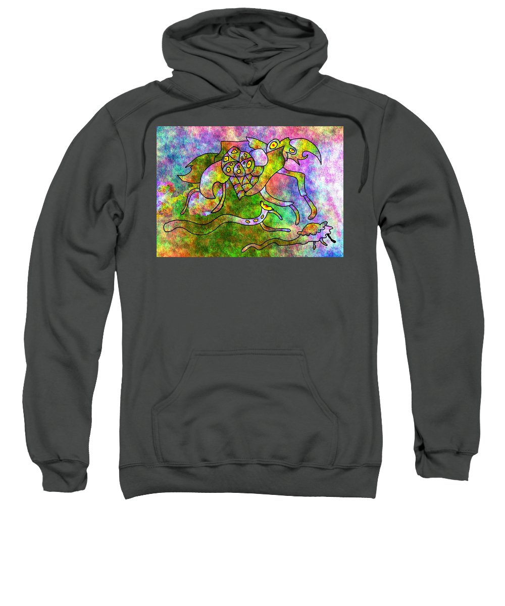 Bugs Color Texture Abstract Fun Sweatshirt featuring the digital art The Bugs by Veronica Jackson