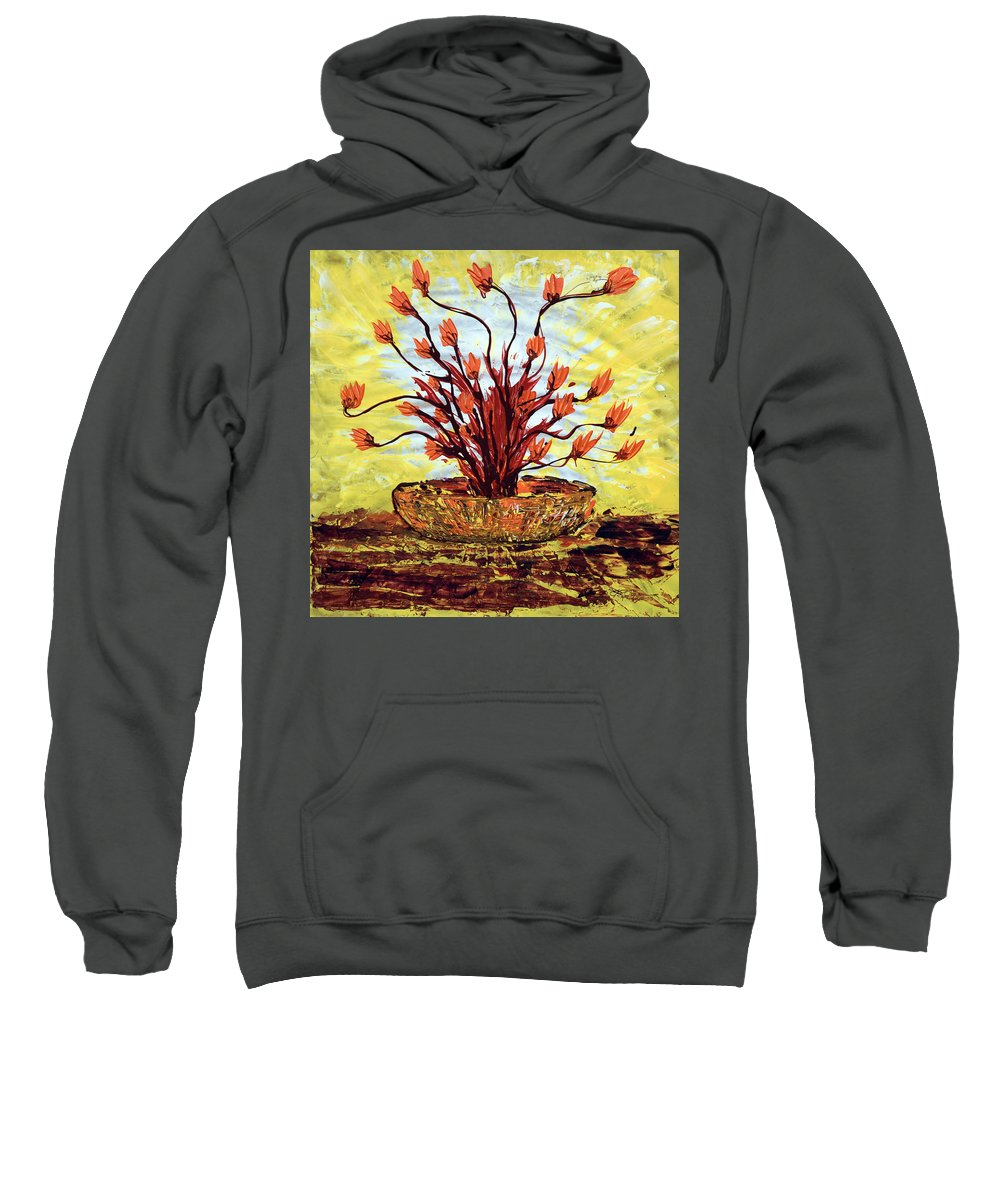 Red Bush Sweatshirt featuring the painting The Burning Bush by J R Seymour
