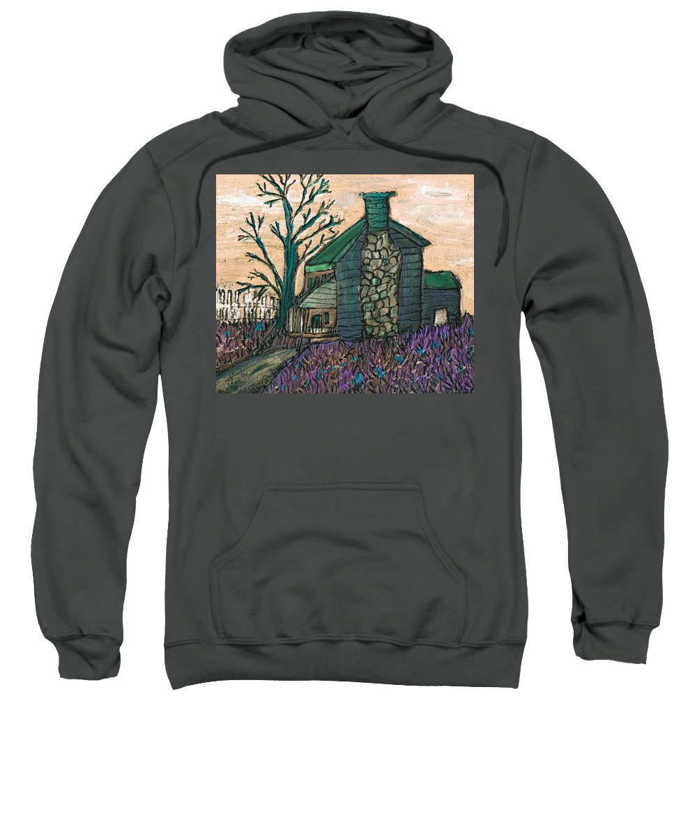 Cabin Sweatshirt featuring the painting The Cabin 2 by Wayne Potrafka