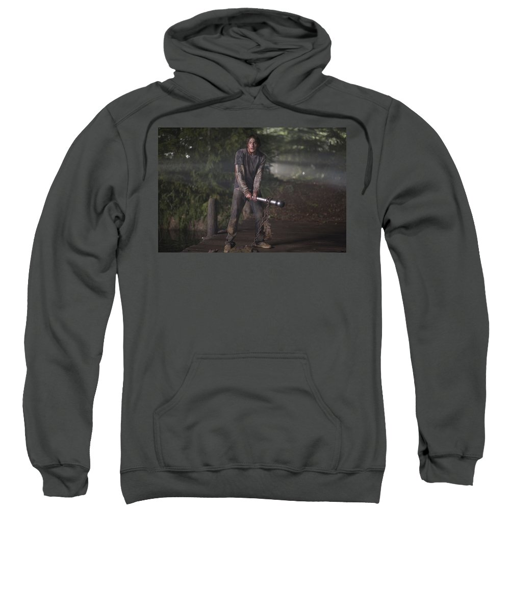 The Cabin In The Woods Sweatshirt featuring the digital art The Cabin In The Woods by Bert Mailer