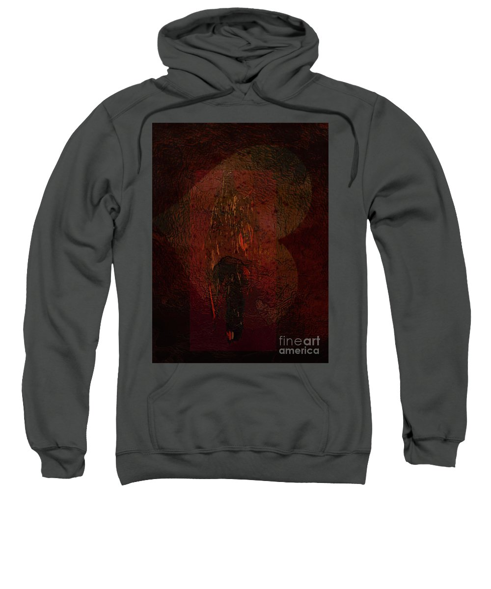 Abstract People Fantasy Blood Red Hell Death Reaper Love Sweatshirt featuring the mixed media The Calling by Cathleen Edick