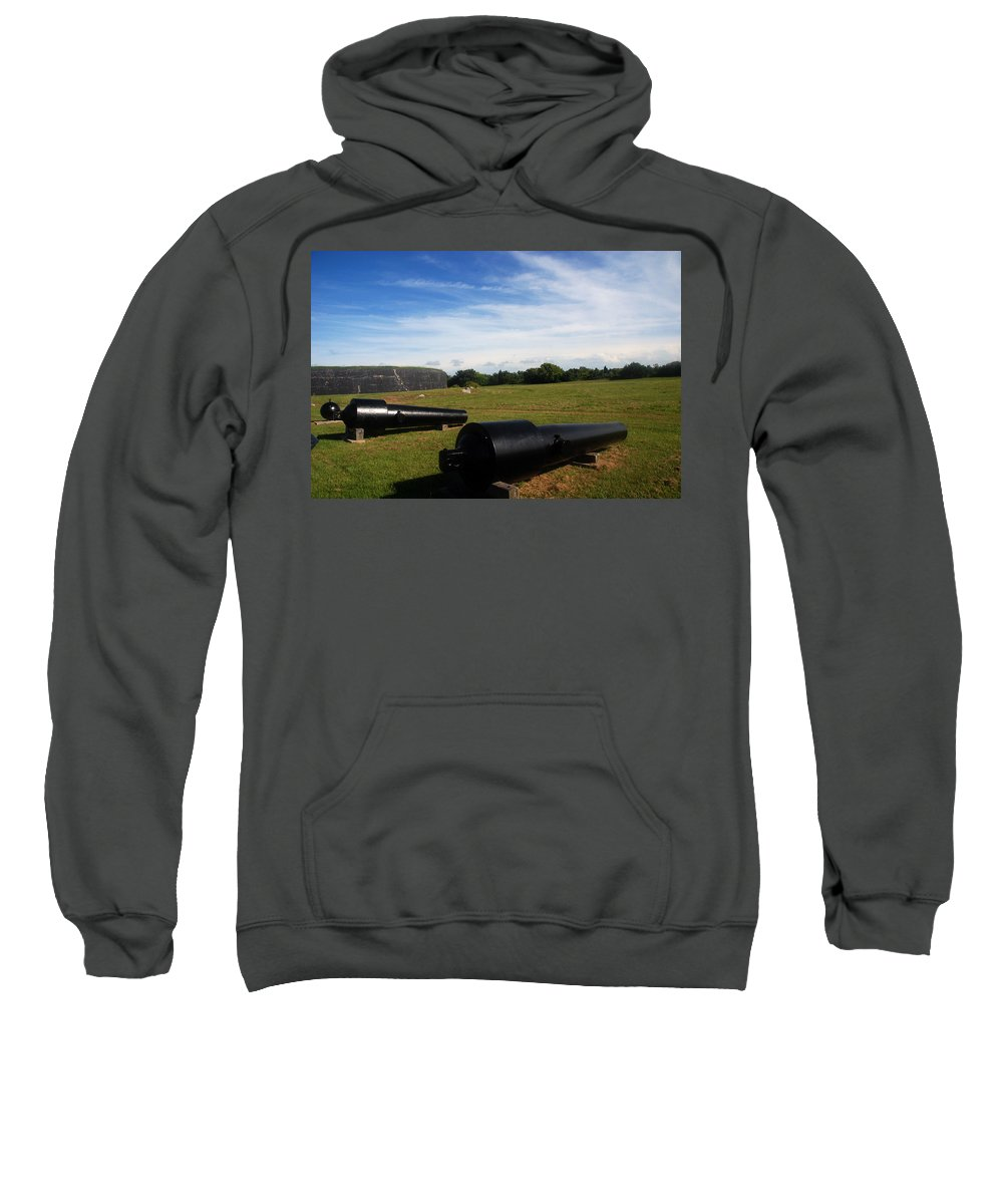 Photography Sweatshirt featuring the photograph The Cannons At Fort Moultrie In Charleston by Susanne Van Hulst