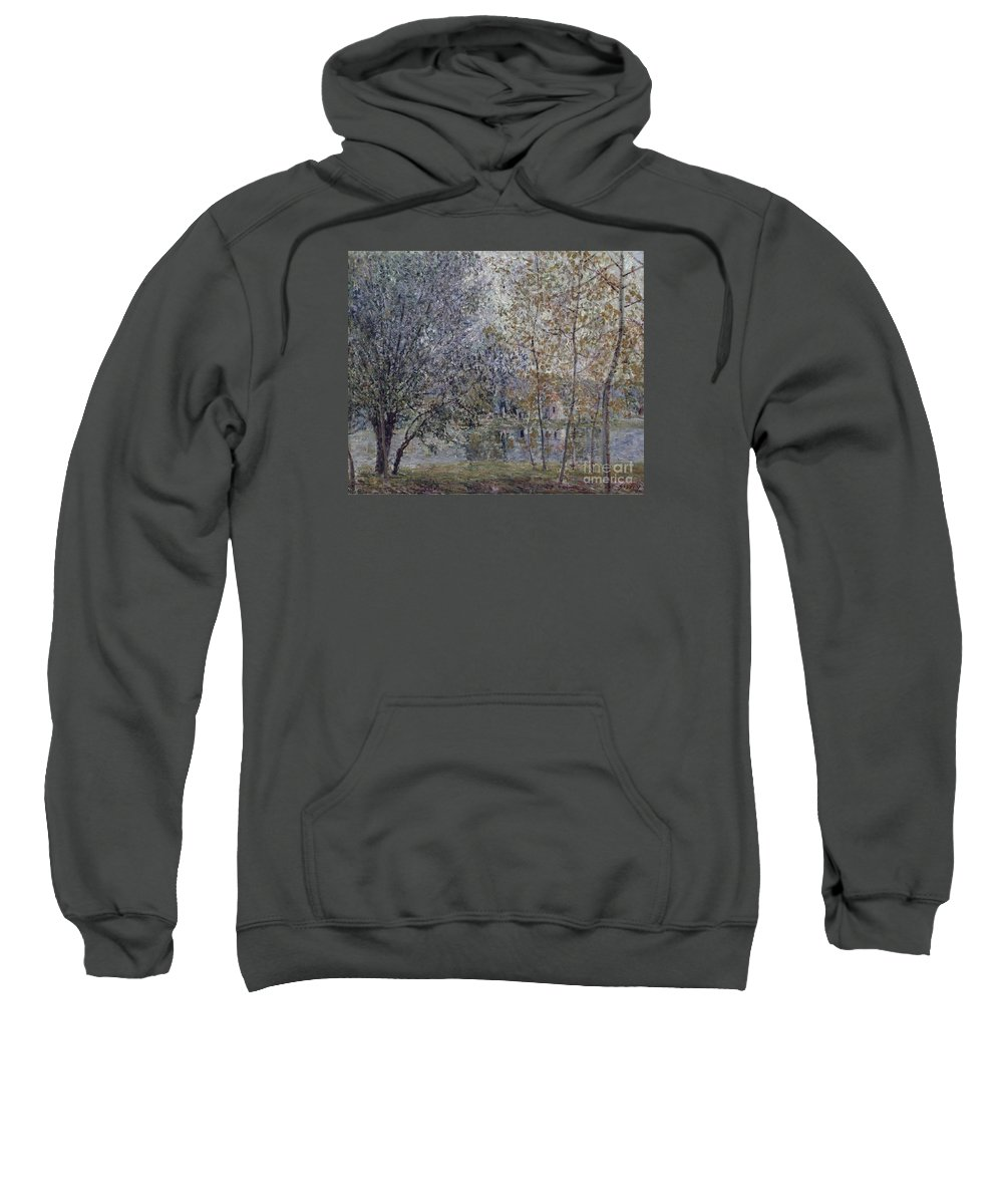 The Channal Of Loing In Spring Sweatshirt featuring the painting The Channal Of Loing In Spring by MotionAge Designs