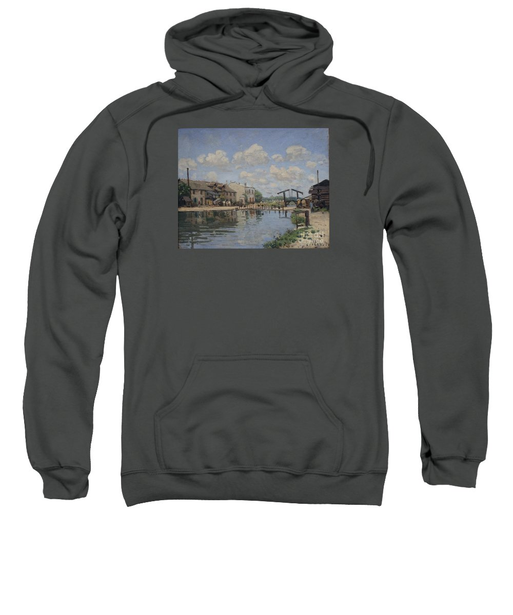 The Channel Of Saint-martin Sweatshirt featuring the painting The Channel Of Saint Martin by MotionAge Designs