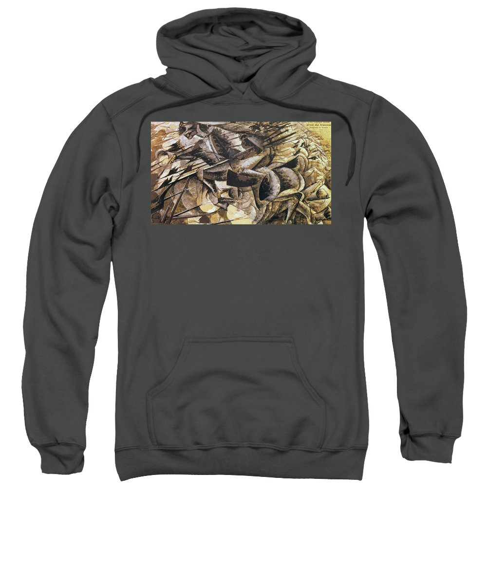 The Charge Of The Lancers Sweatshirt featuring the painting The Charge Of The Lancers by Umberto Boccioni