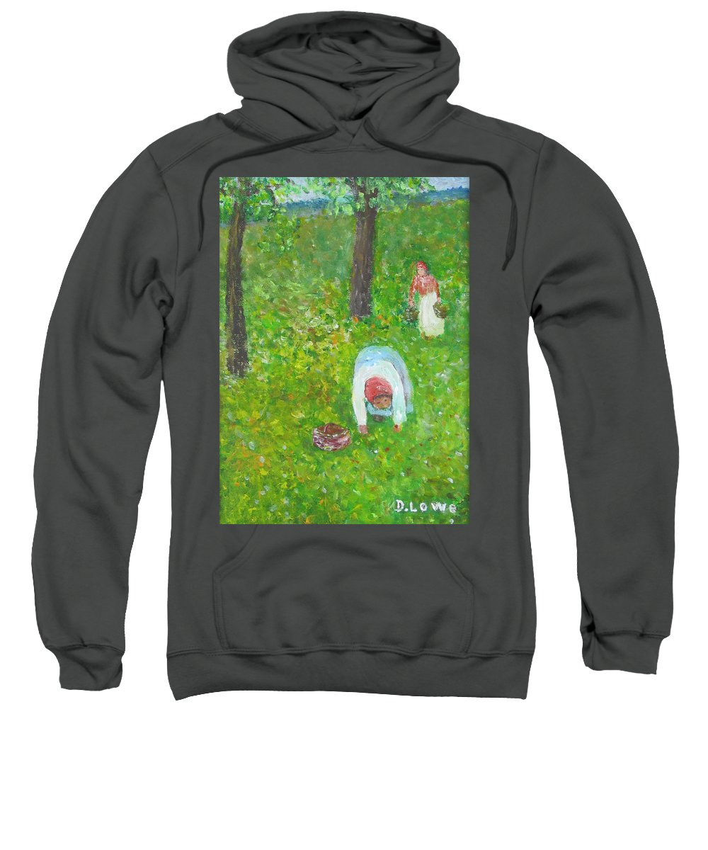 Landscape Sweatshirt featuring the painting The Chestnut Gatherers by Danny Lowe