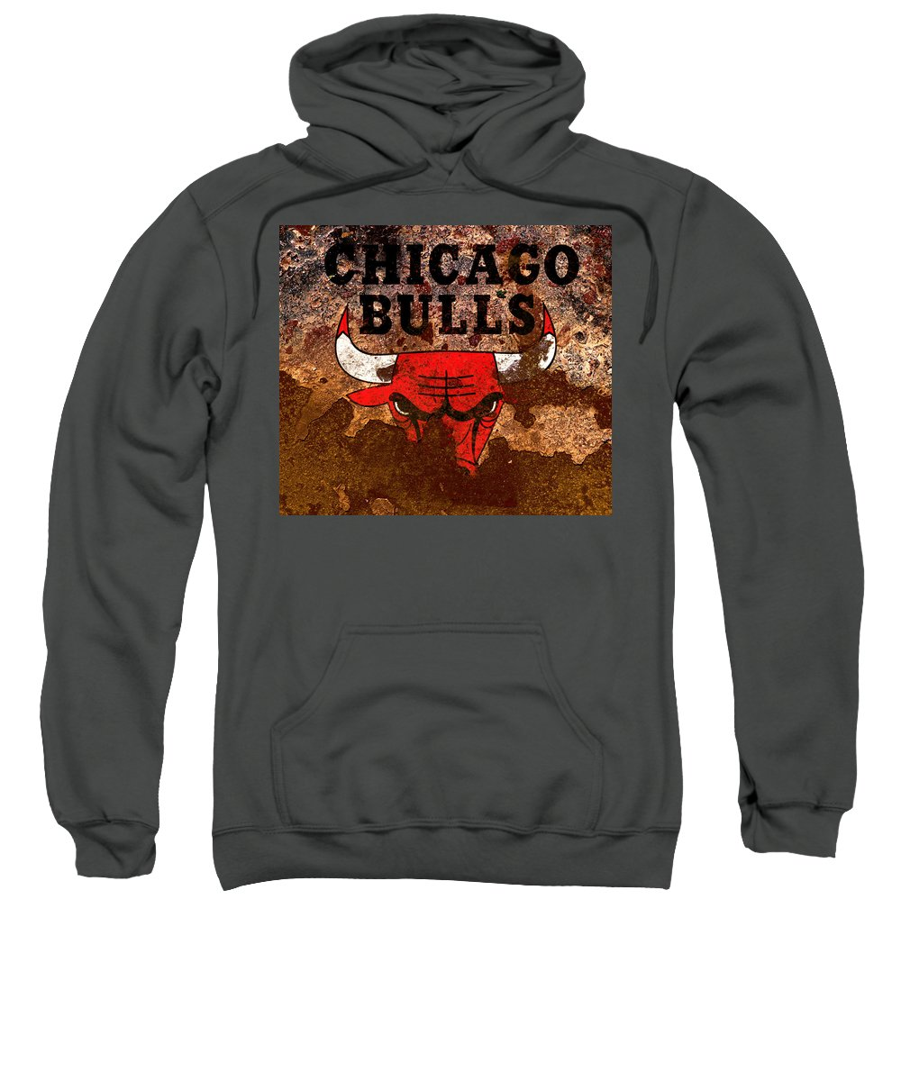 Chicago Bulls Sweatshirt featuring the mixed media The Chicago Bulls R2 by Brian Reaves