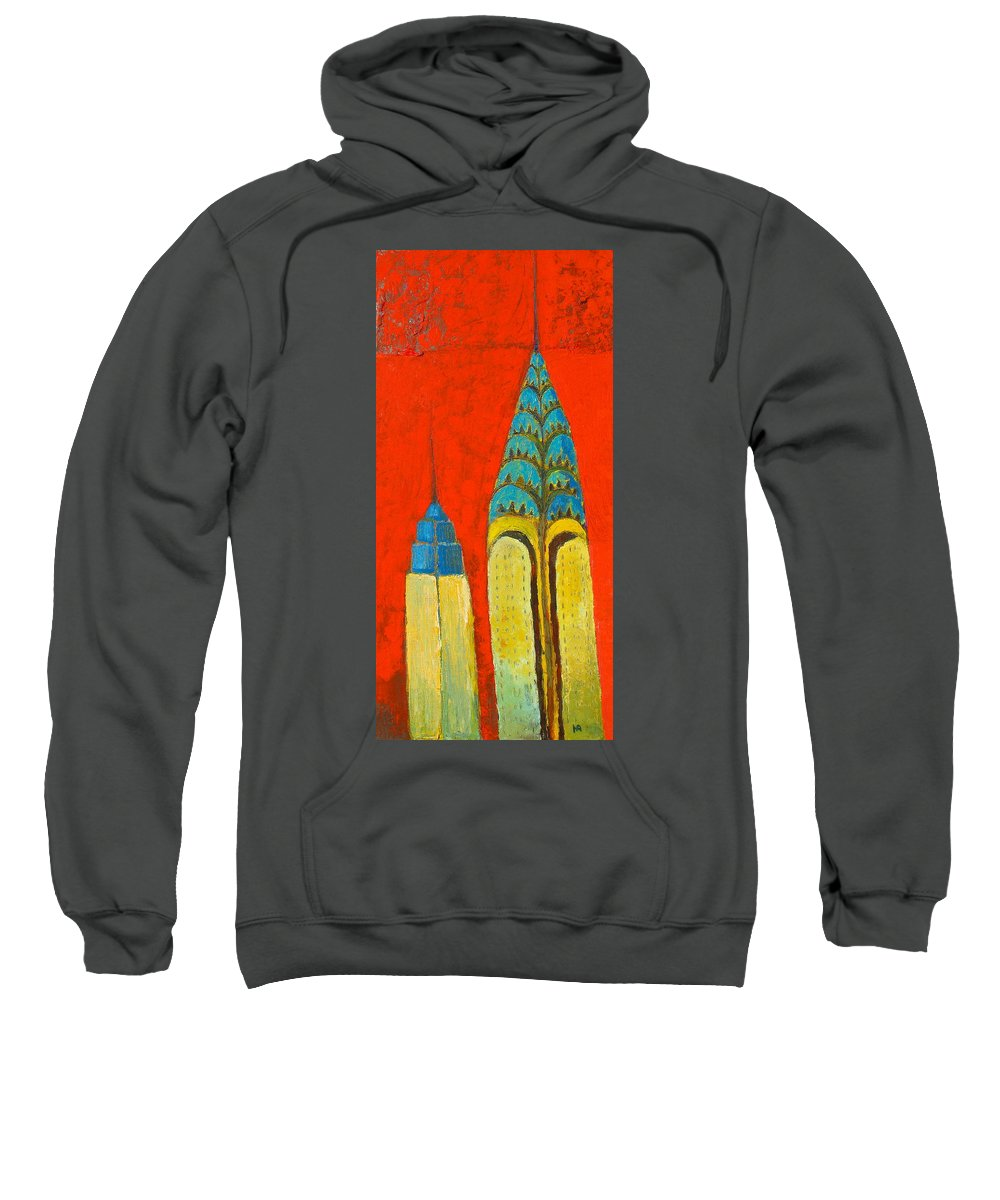 Sweatshirt featuring the painting The Chrysler And The Empire State by Habib Ayat