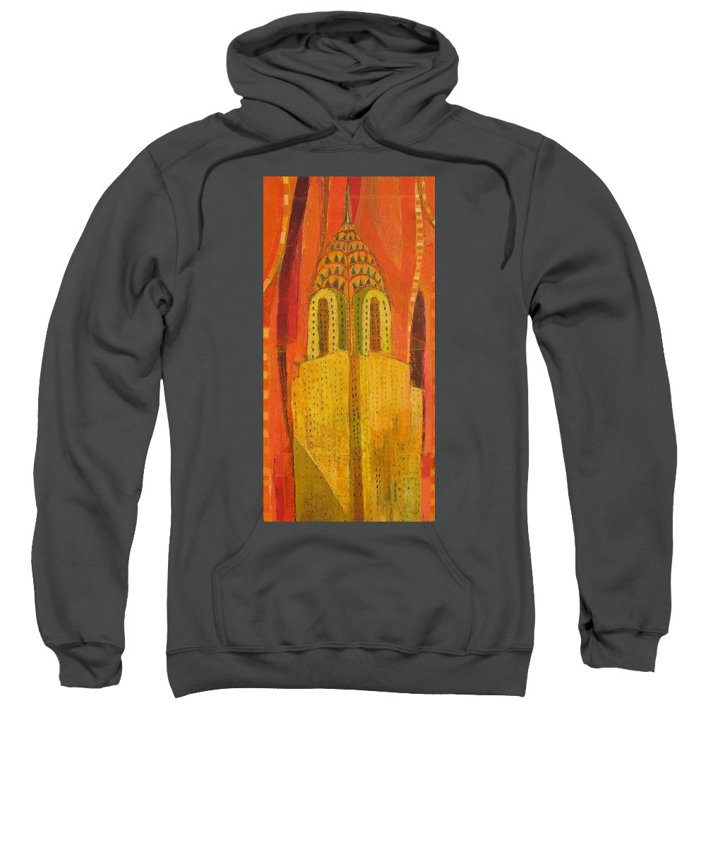Abstract Cityscape Sweatshirt featuring the painting The Chrysler In Red by Habib Ayat
