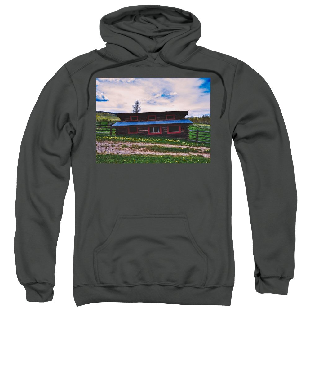 Cockeyed Sweatshirt featuring the photograph The Cockeyed Cabin by Library Of Congress