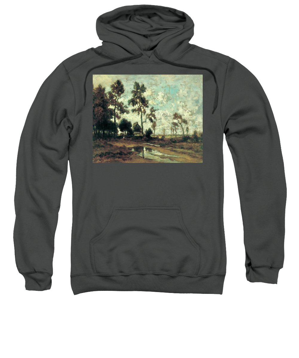 Barbizon School Sweatshirt featuring the painting The Colliers' Hut In The Forest Of Fontainebleau by Theodore Rousseau