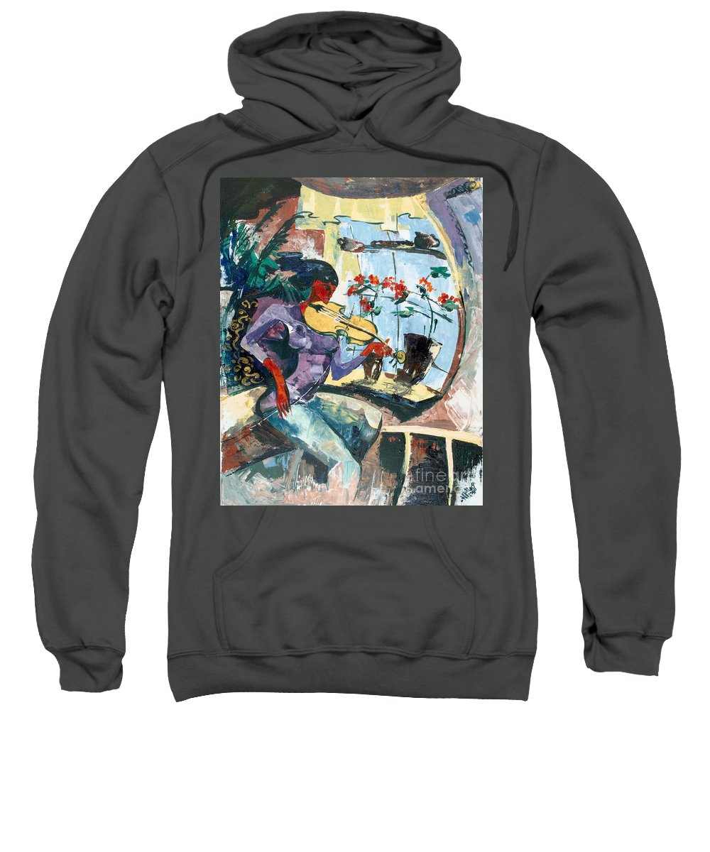 Music Sweatshirt featuring the painting The Color Of Music by Elisabeta Hermann