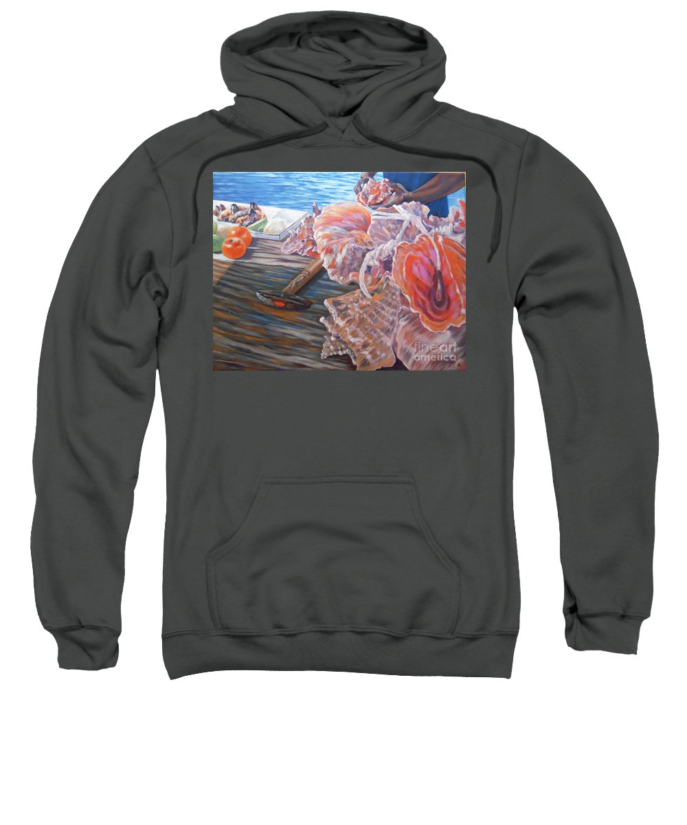 Bahamas Sweatshirt featuring the painting The Conchman by Danielle Perry