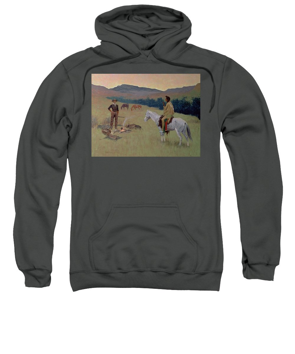 The Conversation Sweatshirt featuring the painting The Conversation by Frederic Remington