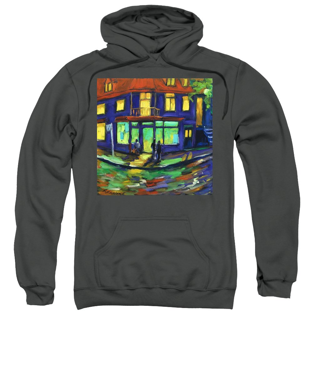 Town Sweatshirt featuring the painting The Corner Store by Richard T Pranke