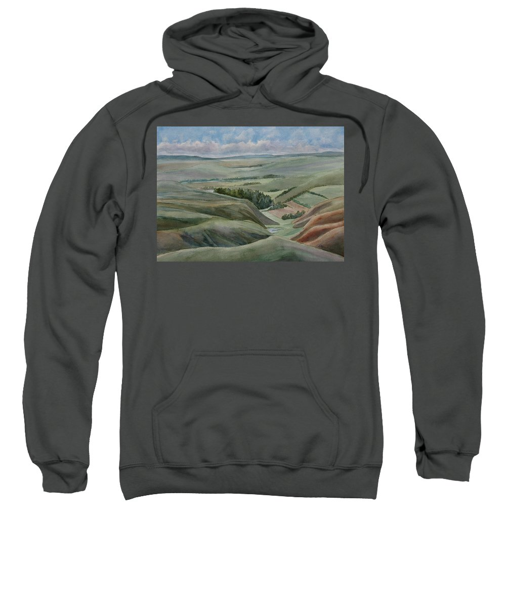Montana Sweatshirt featuring the painting The Corrugated Plain by Jenny Armitage