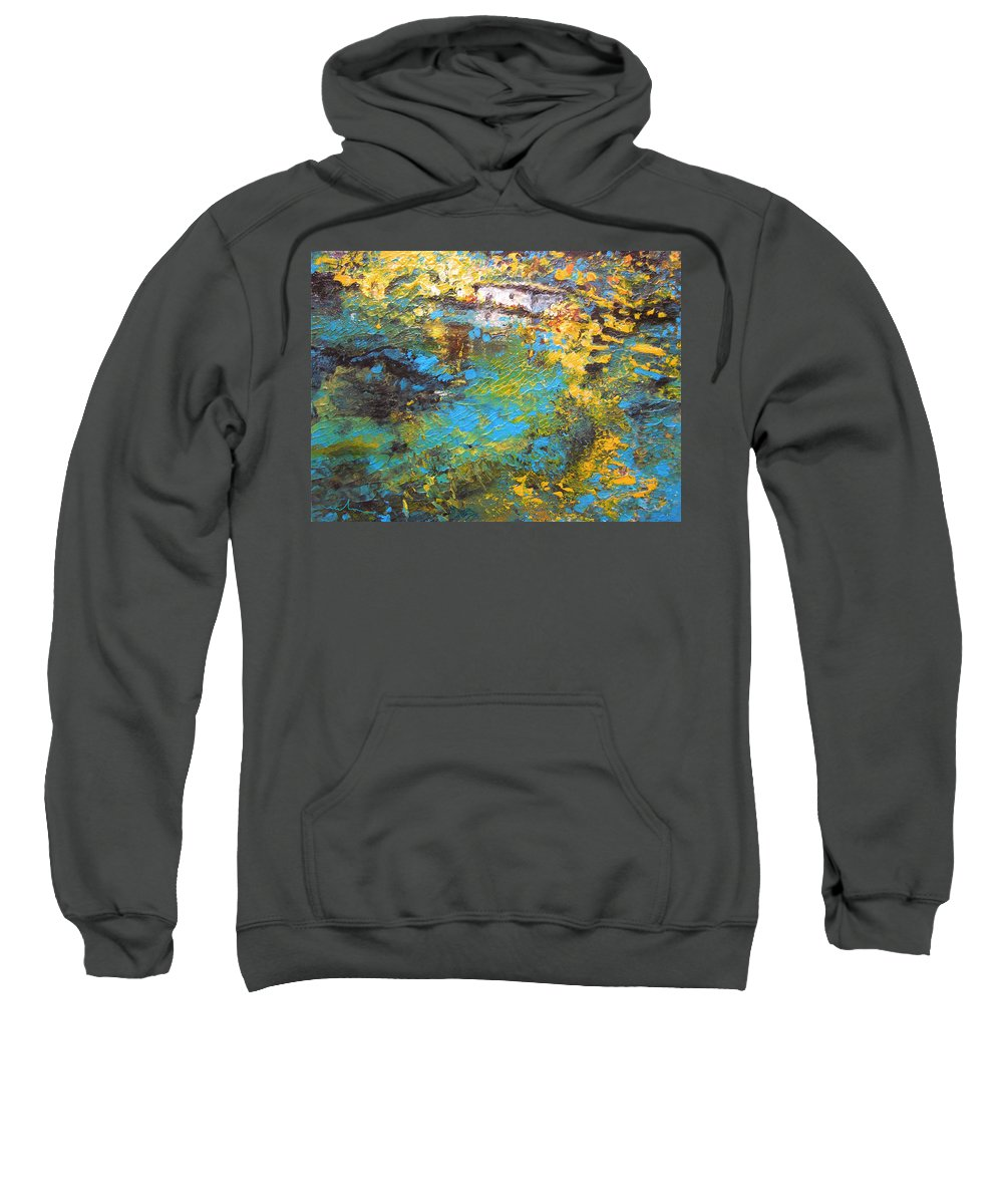 Water Sweatshirt featuring the painting The Cottage By The Lagoon by Miki De Goodaboom